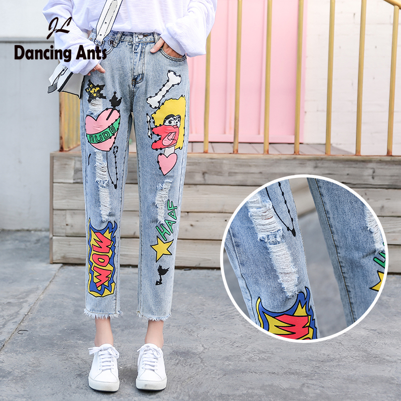 Jeans For Woman Ripped Denim High Waist Women Mom Jeans Ankle-Length Cartoon Print Pant Plus Size Streetwear Slim Ropa Mujer