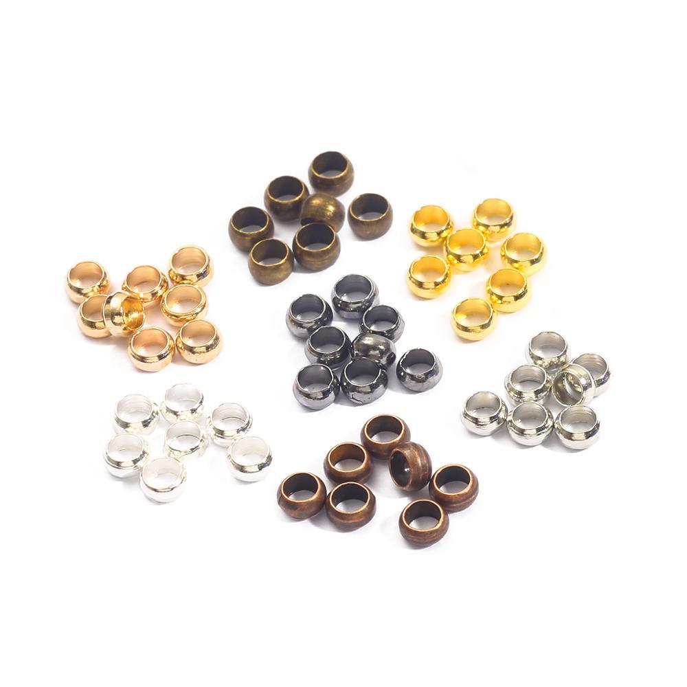 Обжимные концевые бусины для бижутерии, золотистые/Серебристые/Медные шарики, принадлежности для поделок, 500 шт./лот, диаметр 2, 5 3 мм