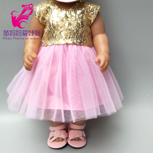 Pink Dress Doll-Clothes Born Babies 18inch with Bow for Sequin New