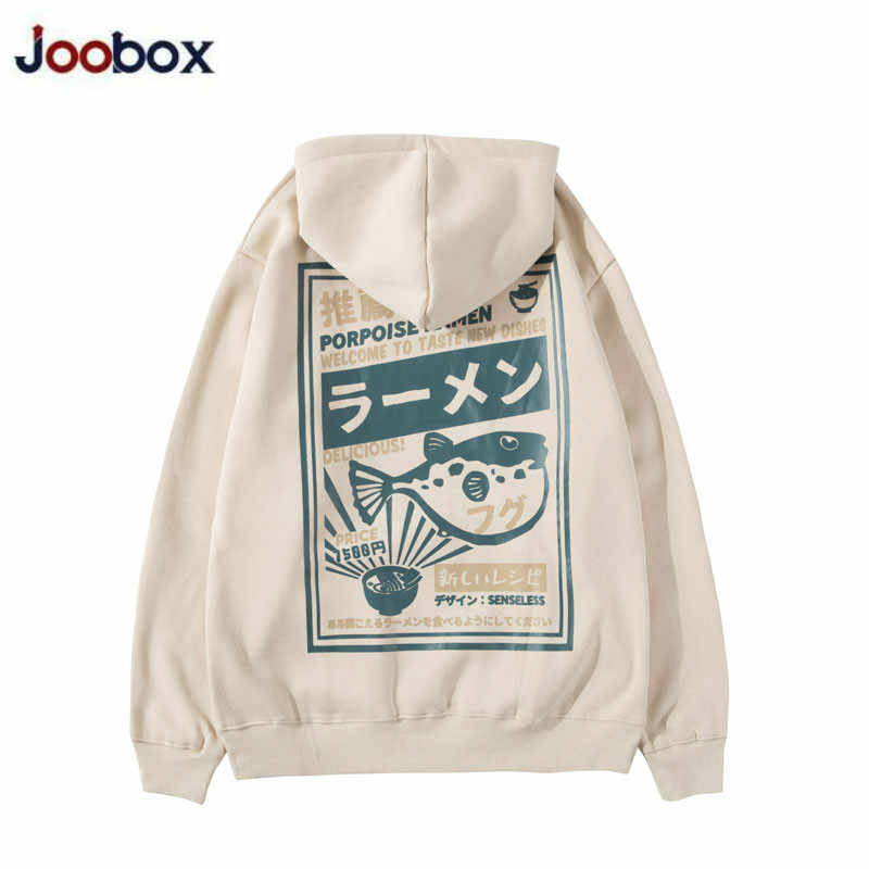 Puffer Vis Ramen Print Fleece Hoodies Hip Hop Casual Trui Hooded Sweater Mannen Harajuku Casual Mode Streetwear 2020