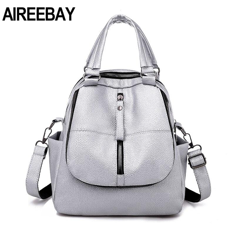 AIREEBAY Women Leather Backpacks Vintage Female Shoulder Bag Travel Ladies Bagpack Silver Black School Bags For Teenager Girls