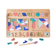 цена на Early Educational Game 5in1 Intellectual Puzzle Board Toy Children Digital Shape Puzzle Jigsaw Puzzle Wood Toys For Kids Baby