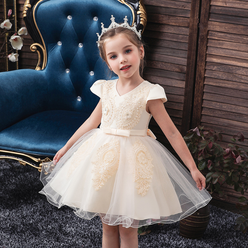 Europe And America CHILDREN'S Dress Baby A Year Of Age Princess Dress Girls Flower Stickers Gauze Tutu Little Flower Girl Party