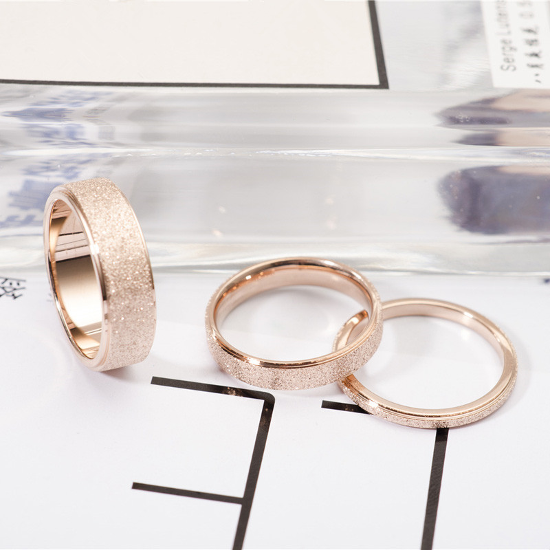 Rose Gold Color Frosted Finger Ring for Woman Man Wedding Jewelry 316L Stainless Steel Top Quality Never Fade 2