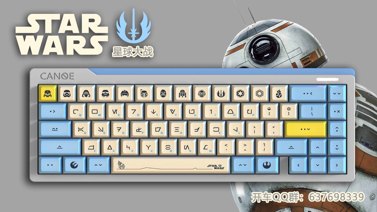 1 Set DSA Dye Sublimation PBT Mechanical Keyboard Key Caps Godspeed Colour Matching For Star Wars Theme Imitate Canvas Typeface