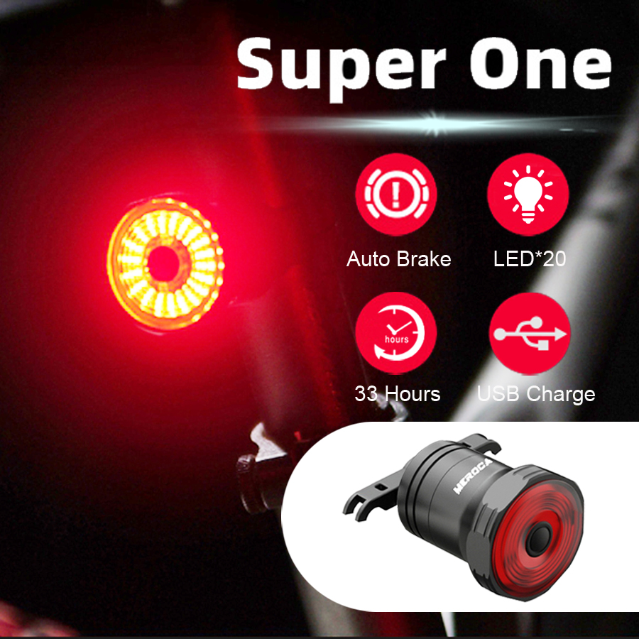 Smart Brake Rear Light For Bike Auto Sensing USB Chargeable LED Cycling Tail light IPX6 Waterproof Taillight Bicycle Accessories