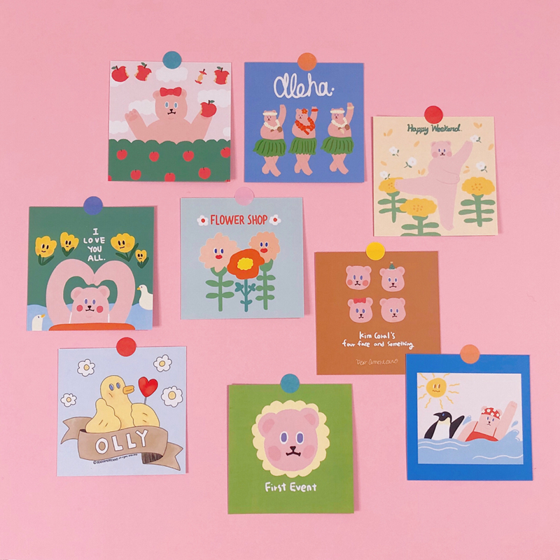 Ins Kawaii Candy Bear Series Card Suit girl Bedroom Wall Background Decoration card Two-sided Postcard Cute Stickers Stationery