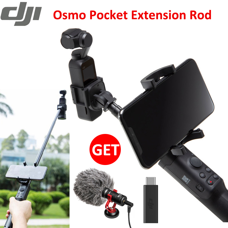 Original DJI Osmo pocket extension rod 50cm stick wi control button phone holder tripod mount cold