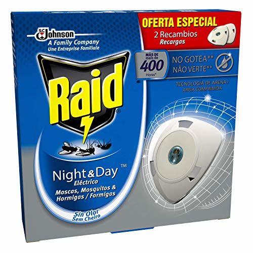 Raid Night & Day Eléctrico - 2 Recambios De Insecticida Automático Contra Moscas, Mosquitos Y Hormigas, Sin Goteo, Sin Olor