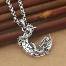 925 Sterling Silver Dragon Moon Pendant Dragon Keychian Pure silver Dragon Pendant Men Women Jewelry Gift dragon