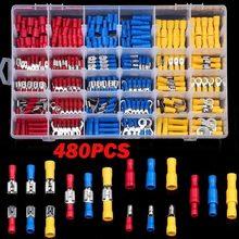 280/300/480Pcs kabel w izolacji złącze przewód elektryczny Assorted Crimp Spade Butt Ring zestaw widelców pierścień uchwyty walcowane terminale zestaw