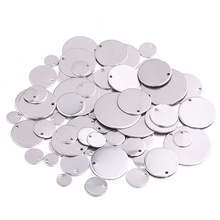 170Pcs Mix Size 8mm-30mm Stainless Steel Blank Stamping Message Word Tag Pendants Flat Round Charms for Jewelry Making
