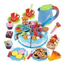Simulation Kitchen Birthday Cake Cut To See Toys Children Play House Fruit Cut Music Diy Creative Gift 80Pcs diy simulation fruit cake birthday toys set 54pcs