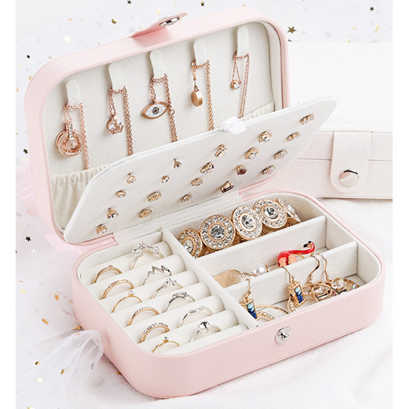 High Quality Jewelry Box Organizer Storage Leather Holder Earrings Ring Necklace Case Protable Jewel Packaging For Gift Display