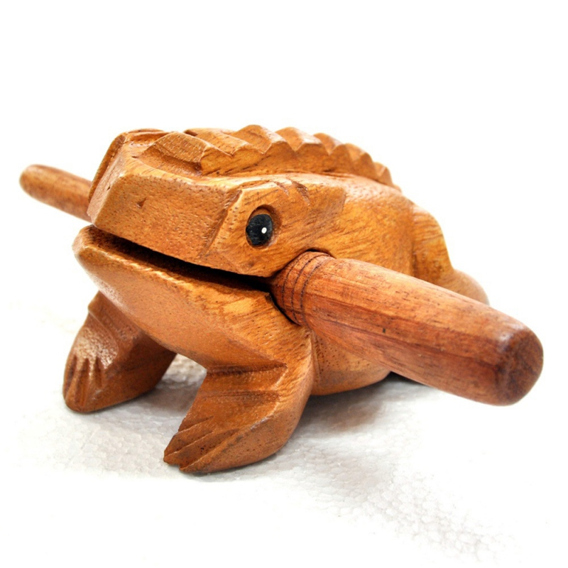 Wooden Animal Frogs Clackers Kids Wooden Toys Musical Instrument Toy Percussion Decompression Toy