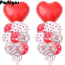 30 adet aşk balonları seti 12 inç kalp baskı lateks balon sevgililer günü dekorasyon düğün yıldönümü sevgililer günü hediyeleri