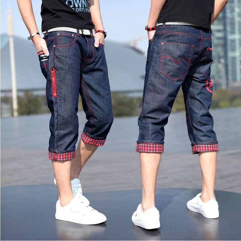 Summer INS Trend Capri Casual Pants Young MEN'S Korean-style Loose Straight Denim Shorts Slimming Shorts