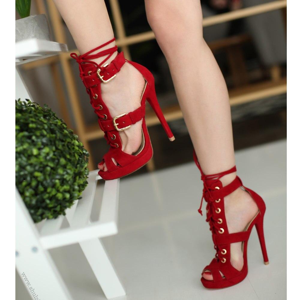 Moraima Snc Peep Toe High Heel Shoes Woman Cutouts Lace-up Gladiator Sandal Summer Thin heels Dress Shos Red Suede Sandal