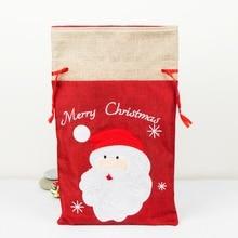 Christmas Linen Cloth Gift Bags Embroidered Drawstring Treat Bag