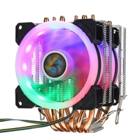 Lanshuo CPU Cooler 6 Heatpipe 4 Pin RGB 2 Fans for In Tel 775/1150/1151/1155/1156/1366 AMDs Platforms