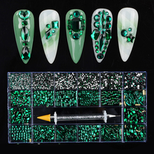 Wholesale Nail Art Rhinestone Set SS3-SS16 Multi Shape Crystal Flatback Glass Diamond Sapphire Nail Decoration 9300/10040Pcs