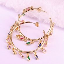 2Pair 2019 rainbow cz dangle charm earring Gold color variou colored zirconia Oval fashion women jewelry
