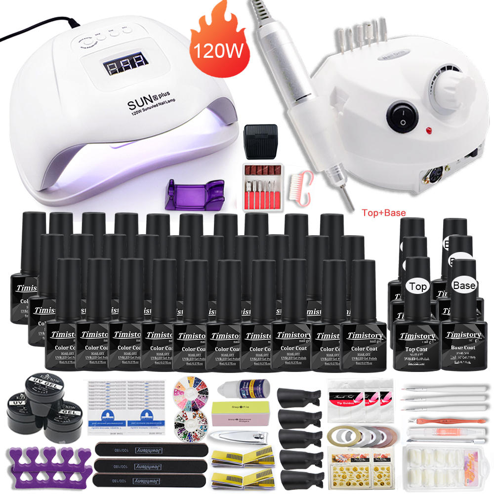 Manicure-Set Drill-Machine Nail-Lamp Acrylic-Kit for Nail-30/20/10 Kind with 120W