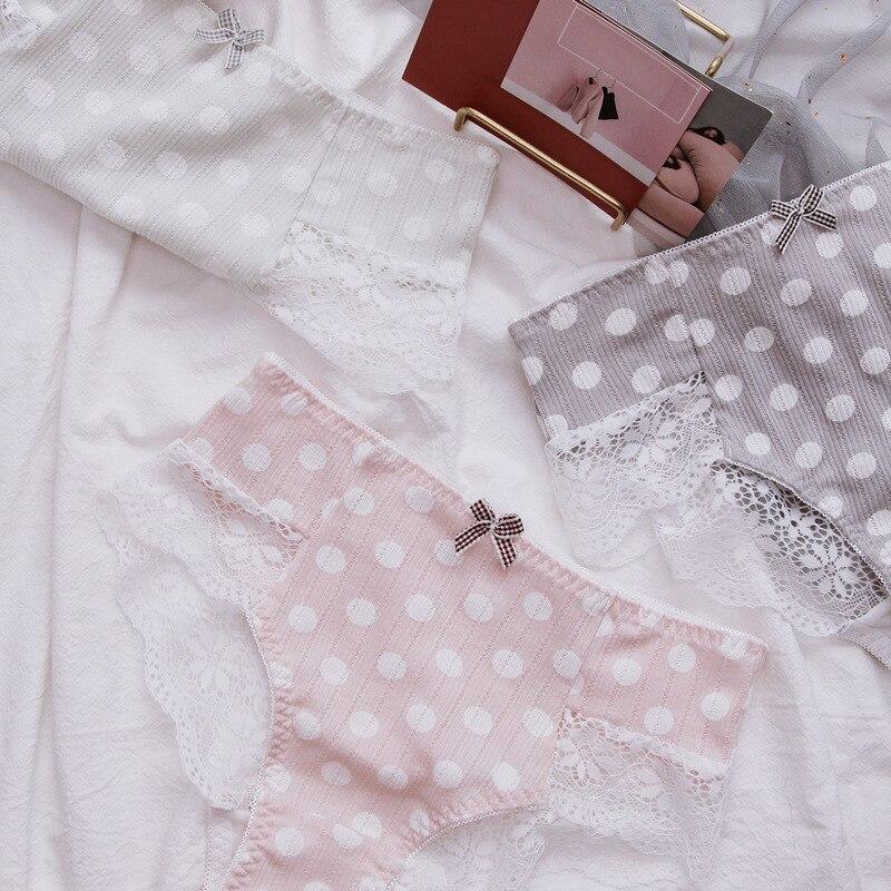 SP&CITY Japan Lovely Vogue Dot Pattern Panties For Women Retro Cotton Seamless Underwear Cute Bow Menstrual Briefs Sexy Lingerie