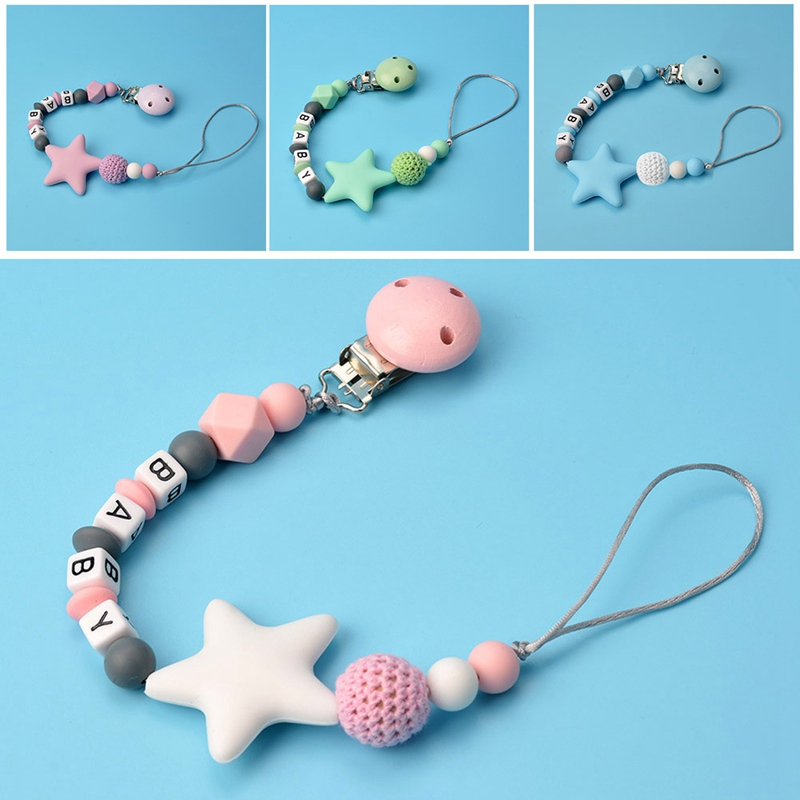 1PC BABY Letter Beads Silicone Star Pacifier Silicone Beads Baby Pacifier Clips Anti-Lost Chain Holder Baby Shower Gift