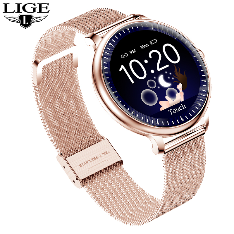 Women Smart Watch Fashion Sport Heart Rate Monitor Multi-Function MeasurementTurning Wrist Bright Screen Waterproof Smartwatch