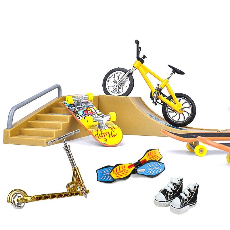 Tech Two Wheel Mini Scooter Finger Skate Board Set Shoes Fingerboard Skatepark Fingertip Ramps Skateboard Bmx Bicycle Kids Toys