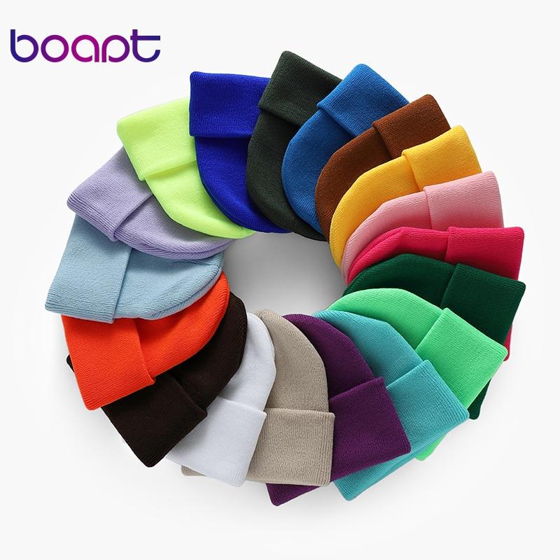Fashion Solid Color Knitted   Beanies   Hat Winter Warm Ski Hats Men Women Multicolor   Skullies   Caps Soft Elastic Cap Sport Bonnet