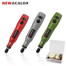 NEWACALOX taşlama makinesi USB 5V DC 10W Mini kablosuz değişken hızlı döner araçları kiti matkap gravür kalem freze parlatma