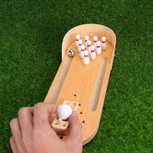 Wooden Mini Desktop Bowling Game Toy Set Tabletop Bowling Toy Desk Ball Set Finger Hand Stress Relief And Kill Time Toy(China)