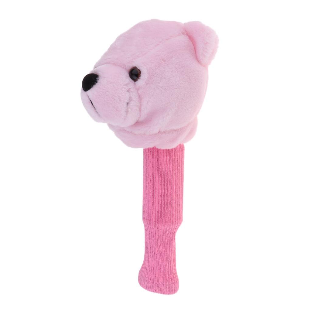 Creative Pink Bear Golf Head Covers 460CC Driver Wood Clubs Headcovers Sets Plush Cloth Golf Accessories Golf Training Aids