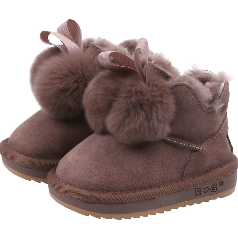Little Girls Solid Snow Boots Toddler Girls Pom pom Fur Shoes Kid Winter Fur Boots Girls Suede Leather Shoes Plush size 21 37|Boots| |  - title=