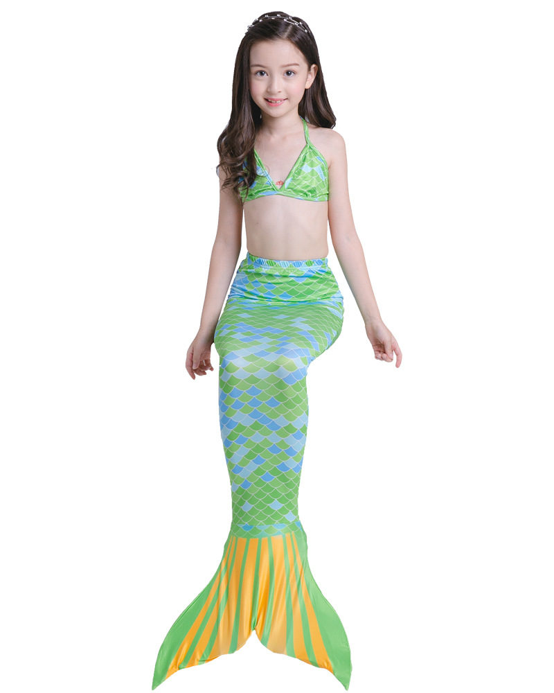 Foreign Trade Hot Selling Children Mermaid Swimsuit The Mermaid Swimming Girls Swimwear Three-piece Set