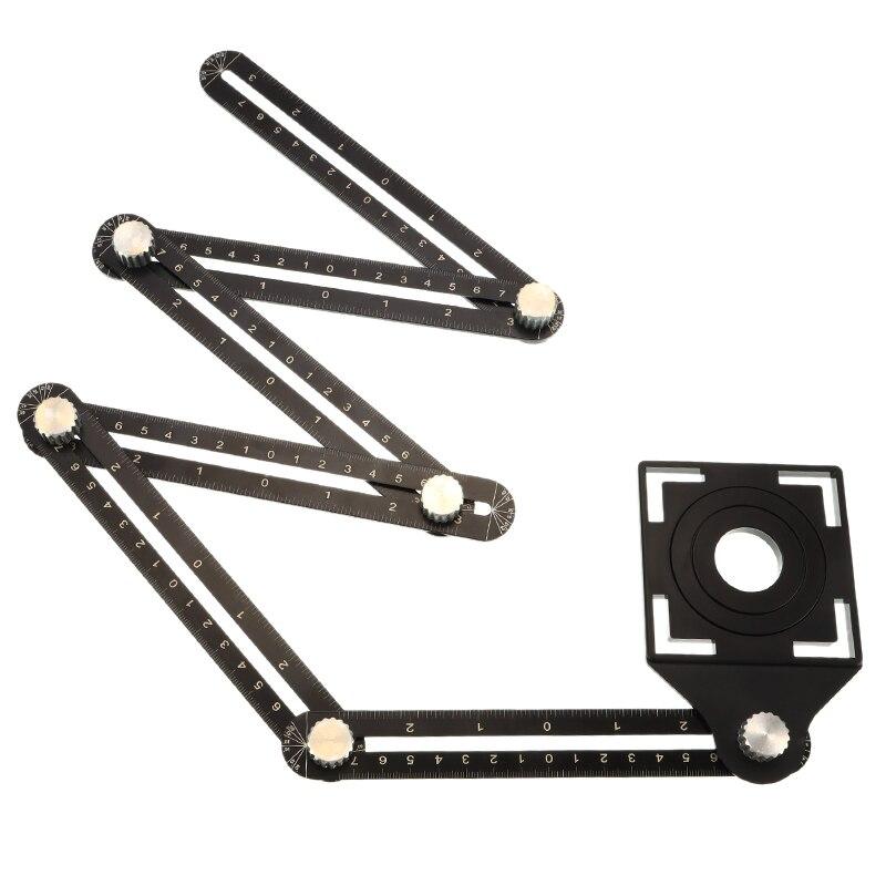 Adjustable Angle Floor Tool Aluminum Alloy Six-Sided Measuring Ruler Protractors Multi Angle Tile Hole Locator Mechanism Puncher