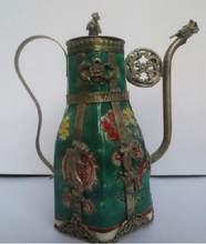 Théière en céramique verte chinoise, Outils tibétains en argent, flagon, décoration de mariage en laiton