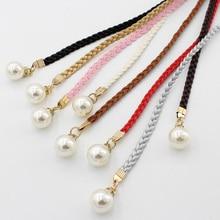 Fashion Thin PU Leather Belt Simulated Pearl Elastic Waist Belts Women Dress Skirt Decoration Fashion Girles Gifts Women Belt