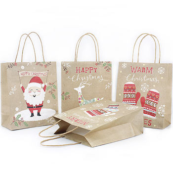 Durable Christmas Craft Paper Bag Reusable Santa Claus Gift Pouch Merchant Shopping Bag Candy Pouch Christmas Decor Supplies image