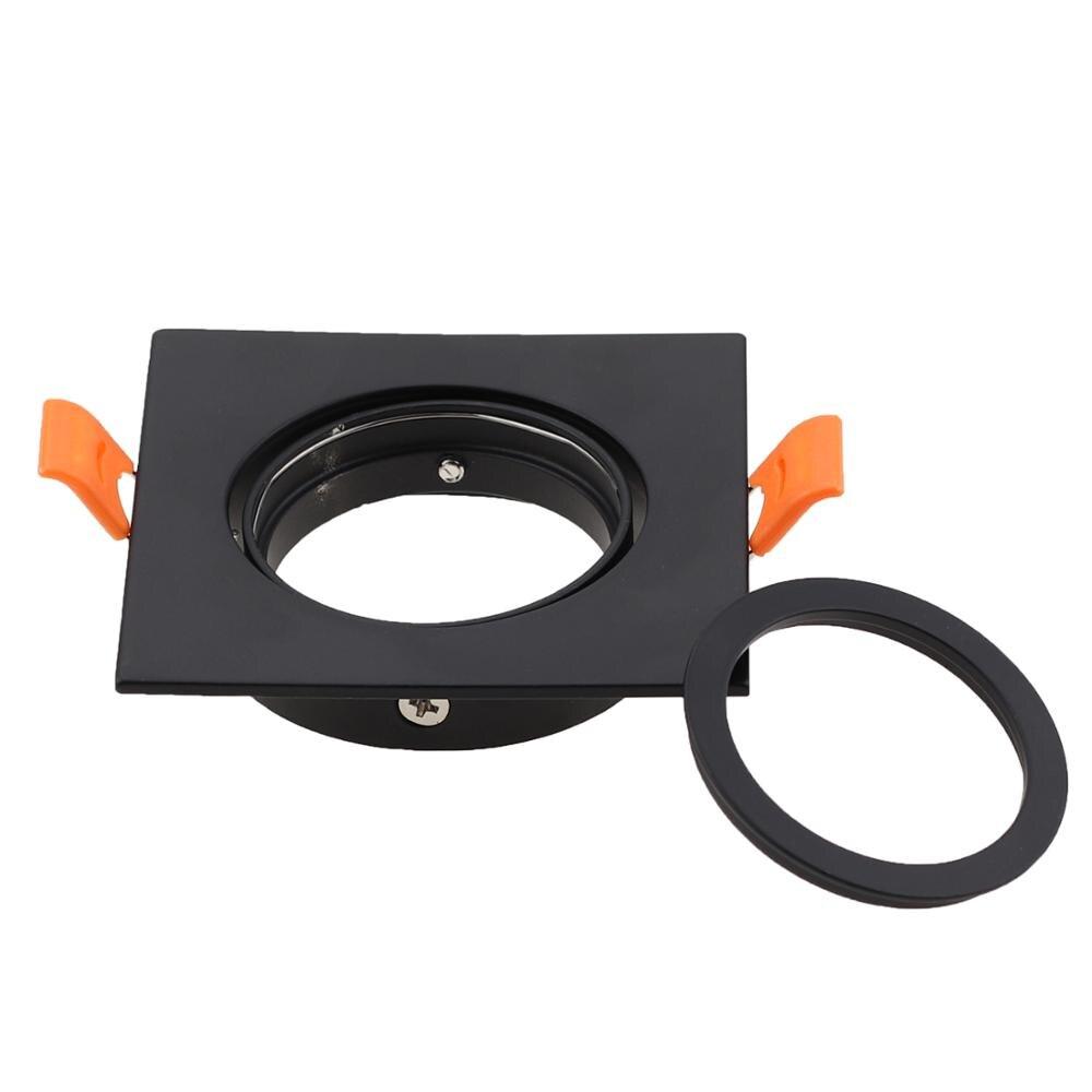 Led luz de teto quadro quadrado suportes fixação recorte ajustável 65mm mr16 gu10 lâmpada led teto ponto luz luminárias