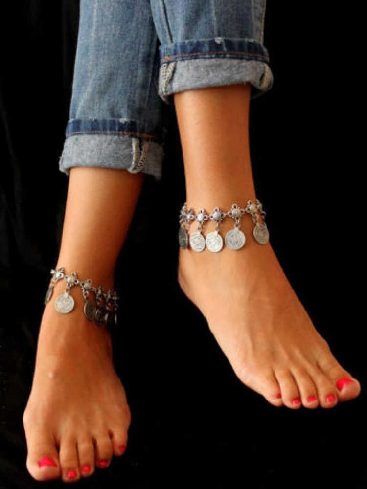 Nowa moda monety frędzle łańcuszek na kostkę dla kobiet Sexy monety wisiorek łańcuch bransoletka kostki Foot biżuteria boso sandały