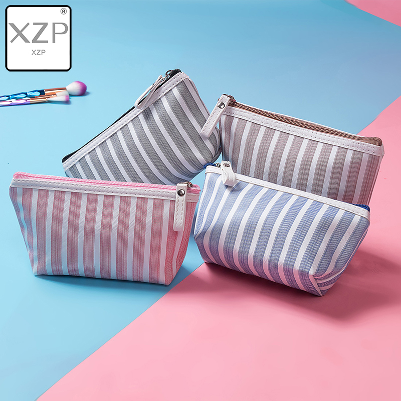 XZP Canvas Cosmetic Bag Women Make Up Bags Striped Printed Travel Toiletry Organizer Portable Pouch Makeup Case Wash Bag