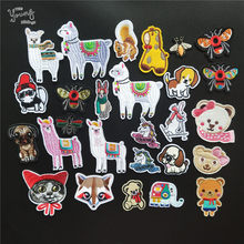 Mix Hot melt adhesive patches Cartoon Animal Embroidery patch Sheep Unicorn Dog stickers Iron on Stripes DIY Clothing Accessory(China)