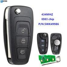 KEYECU 434MHz ID83 チップ 5WK49986 交換リモートキー Fob 3 ボタンフォード C-Max S-Max フォーカス MK3 グランドモンデオ 2010-2017