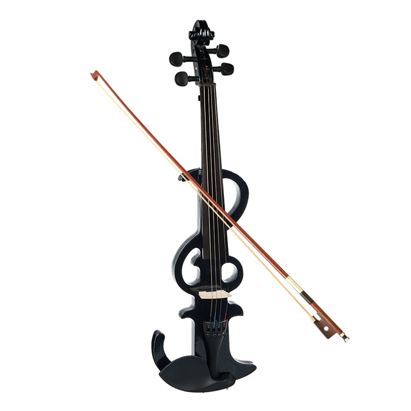NAOMI Electric Violin 4/4 Electric Silent Violin Full Size Violin Ebony Fretboard +Case-Black SET