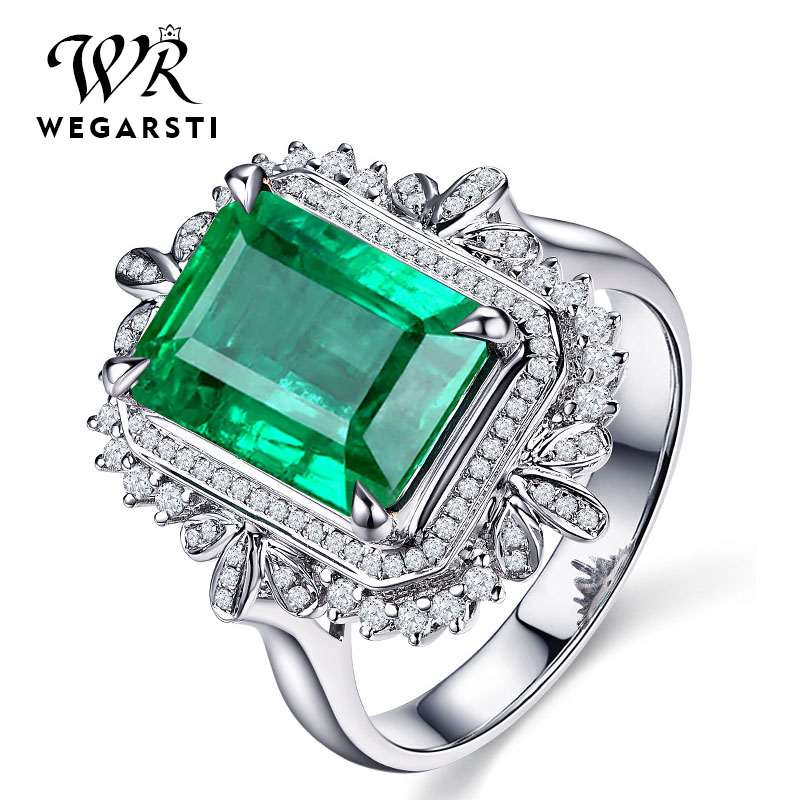 WEGARSTI Hot Sale Created Nano Emerald Ring 925 Sterling Silver Rings For Women Engagement Ring Silver 925 Gemstones Jewelry