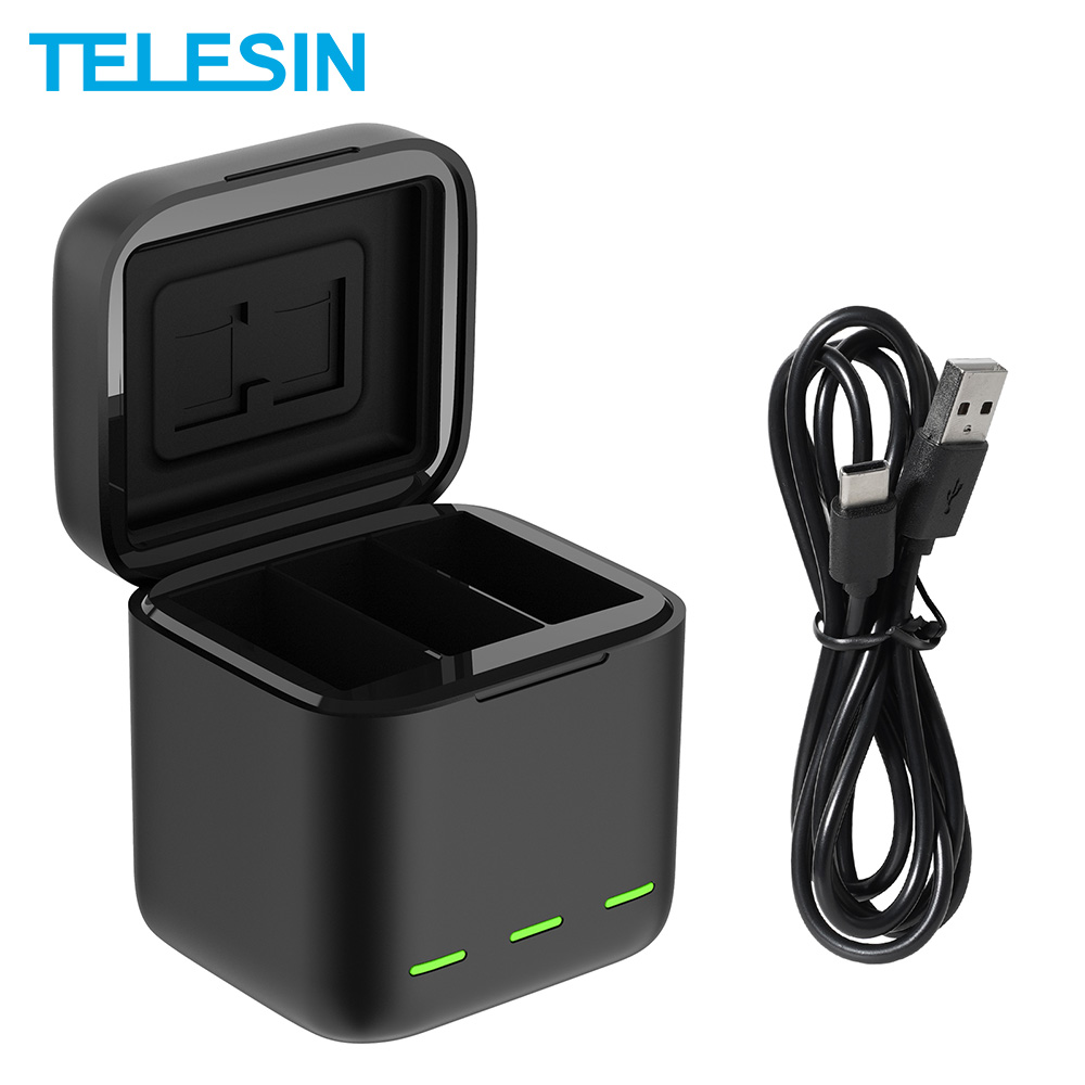 TELESIN For GoPro 9 3 Ways LED Light Battery Charger TF Card Storage Charging Box For GoPro Hero 9 Black 1