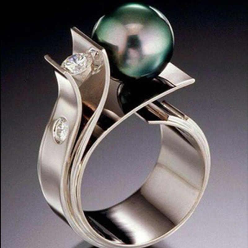 Tisonliz الإبداعية الأخضر الأبيض الكبير تقليد خواتم لؤلؤية للنساء الإناث الزفاف خواتم الاصبع النساء Charms بيان مجوهرات